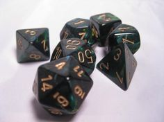 FRP GAMES - PRODUCT - Chessex RPG Dice Sets: Jade/Gold Scarab Polyhedral 7-Die Set