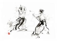 Aikido martial arts sumi-e japanese ink painting by MariuszSzmerdt