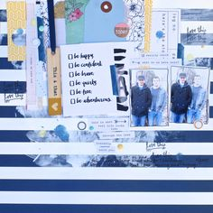 This and That, by Denise Morrison using the Hello Again collection by www.cocoadaisy.com #cocoadaisy #scrapbooking #kitclub #layout #gesso #stripes #stamping #mixedmedia