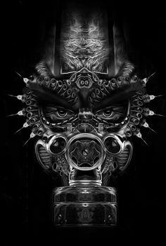 FANTASMAGORIK® COSMIC MASK by obery nicolas #Gasmask #Graphic #Design