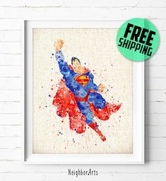 Superman, Justice League, DC Comics, Superhero, Poster, Watercolor Painting, Wall Art Print, Kids Decor, Nursery Decor, Baby Shower Gift, 18