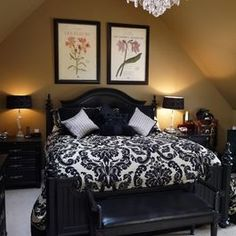 Beautiful French Country Master Bedroom! Decor in black-and-white~