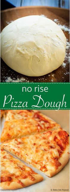 Rise Pizza Dough - Fast and easy to make no rise pizza dough – scratch, homemade pizza in under an hour!No Rise Pizza Dough - Fast and easy to make no rise pizza dough – scratch, homemade pizza in under an hour! No Rise Pizza Dough, No Yeast Pizza Dough, Pizza Dough Recipe Quick, Quick Pizza, Pizza Doug Recipe, Pizza Recipes, Cooking Recipes, Bread Recipes, Easy Recipes
