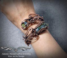 """Once Bitten, Twice Shy"". Adams Handcrafted Jewelry. Rainbow Labradorite Cuff Wrap Bracelet Wire wrapped in Copper Patina w/ Czech Crystals - Wrist View."