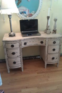vintage desk vanity shabby distressed chic office computer tan white french mahogany antique cottage prairie. $495.00, via Etsy.