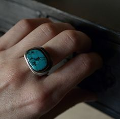 One of a kind custom made Kingman turquoise and sterling silver ring. Your friends are going to notice this beauty.