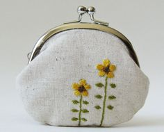 Coin purse  mustard yellow flowers on linen by oktak on Etsy.