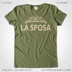 Magliette Matrimonio Addio Nubilato La Sposa T-Shirt colore Muschio Irlandese Stampa Colore Crema Taglia XS-S-M-L-XL