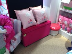 Adairs kids toy box/ seat $249 pink only Kids Toy Boxes, Kids Toys, Toy Box Seat, Adairs Kids, Rain Go Away, Go Pink, Room Themes, Kids Bedroom, Little Ones