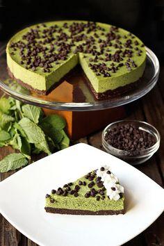 Mint Chocolate Chip Cashew Cream Cake {Gluten-free and Vegan}