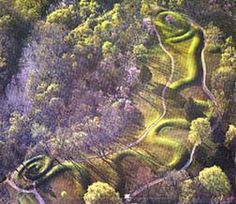 "The ""Serpent Mound"" in Ohio. Prehistoric inhabitants of North America, the Mound Builders gave great mystical value to the serpent Effigy Mounds, Mound Builders, Nazca Lines, Ohio River, Ancient Civilizations, West Virginia, Day Trips, In This World, Places To See"