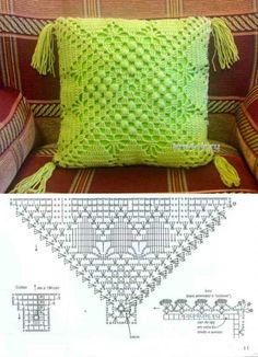 3 moldes para hacer Funda de cojín a crochetConMoldes.com Crochet Granny, Crochet Doilies, Crochet Home Decor, Cushion Covers, Crochet Patterns, Cushions, Throw Pillows, Blanket, Diy