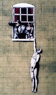 Naked Man image by Banksy, on the wall of a sexual health clinic in Park Street, Bristol.