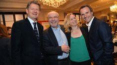 KURIER-Chefredakteur Brandstätter (li.) mit den Nominierten Rabl, Corinna Milborn & Hausleitner bei der Pressekonferenz zur #Romy14.