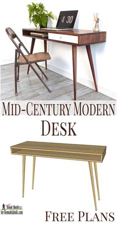 If you love the sleek modern look, you'll love this easy Mid-Century Modern Desk. - If you love the sleek modern look, you'll love this easy Mid-Century Modern Desk build plan on Re - Mid Century Modern Couch, Mid Century Desk, Mid Century Modern Furniture, Mid Century Modern Vanity, Diy Furniture Projects, Home Furniture, Furniture Design, Antique Furniture, Furniture Online