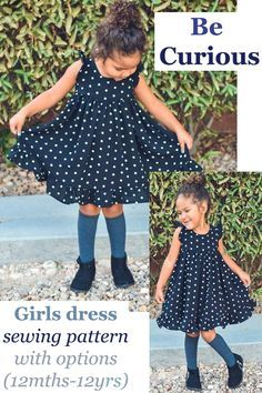 Be Curious girls dress sewing pattern with options (12mths-12yrs). Babies beautiful dress sewing pattern. The Be Curious Dress pattern has lots of options to change up the look. #SewModernKids #GirlsDressSewingPattern #SewingPatternForGirls #SewAGirlsDress #BabyDressSewingPattern #SewABabyDress Girls Dresses Sewing, Sewing Kids Clothes, Little Girl Dresses, Sewing For Kids, Baby Sewing, Dress Sewing, Toddler Girl Dresses, Toddler Dress Patterns, Childrens Sewing Patterns