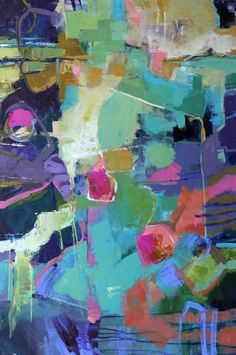 "Abstract Artists International: Modern Expressionistic Abstract Painting ""Pretty One"" by Elizabeth Chapman"