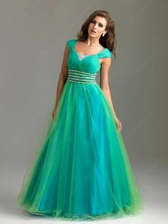 Tulle Square Floor-length A-line Beading Ball Dresses -NZD$183.39