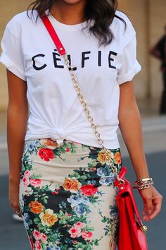 Shop this look for $38:  http://lookastic.com/women/looks/white-crew-neck-t-shirt-and-multi-colored-pencil-skirt-and-red-crossbody-bag/885  — White Crew-neck T-shirt  — Multi colored Floral Pencil Skirt  — Red Crossbody Bag