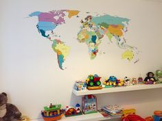 vinylimpression.co.uk Printed world map vinyl wall sticker.