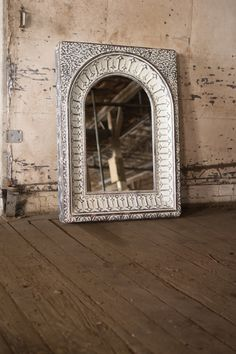 Pressed Metal Arched Wall Mirror - Into The Garden Outdoor Arch Mirror, Metal Mirror, Wall Mirror, Metal Arch, Pressed Metal, French Industrial, Vintage Mirrors, Backyard Furniture, Retail Interior