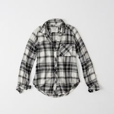 Abercrombie & Fitch Signature Flannel Shirt ($29) ❤ liked on Polyvore featuring tops, cream and black plaid, plaid shirts, tartan shirt, cream top, flannel top and plaid flannel shirt