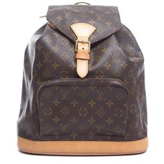 Louis Vuitton Pre-Owned Louis Vuitton Monogram Montsouris Gm Backpack... ($1,206) ❤ liked on Polyvore featuring bags, backpacks, brown, handbags, backpacks bags, knapsack bags, pre owned bags, purple bag and monogrammed bags