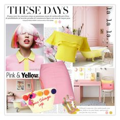 """""""Spring Edition:Yellow and Pink"""" by likepolyfashion ❤ liked on Polyvore featuring Topshop, Miss Selfridge, Chinese Laundry, Kate Spade, Laundry by Shelli Segal, fashionset and unicornhair"""