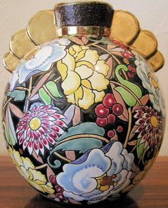 Boch Vase with Gold Wings