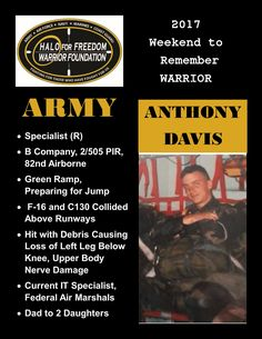 Meet 2017 Weekend to Remember Warrior Anthony Davis #ARMY #82Airborne #LeaveNoVeteranBehind 17 D 8 H 06 M to liftoff! March 22-26, 2017 www.haloforfreedom.org