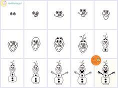 Naučimo se narisati Olafa. // Easy way to draw Olaf from Frozen.