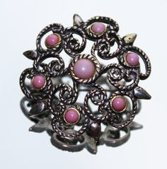 Vintage Silver Coloured & Pink Snowflake Brooch (c1950s) by GillardAndMay on Etsy