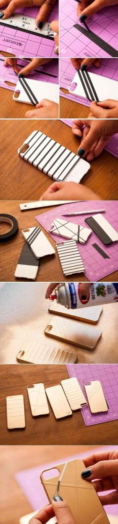 Crafting instructions-step by step-individual smartphone housing - DIY - Phone Cases Diy Coque, Fun Crafts, Diy And Crafts, Diy Accessoires, Phone Hacks, Mobile Covers, Diy Mobile Cover, Phone Covers, Phone Cover Diy