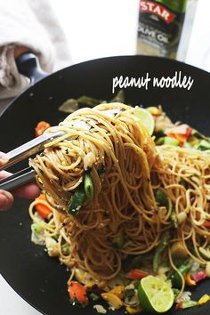 Delicious noodles and stir fried vegetables are tossed in garlic olive oil and coated in a mixture of peanut butter, soy sauce, lime juice, hot sauce and ginger. Read more at