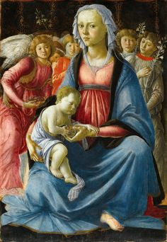 Madonna and Child and Five Angels. Sandro Botticelli. 1470. Tempera on Panel. 58 X 40 cm. Musée du Louvre. Paris.