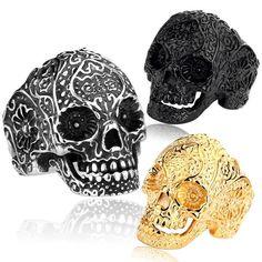 Classic Garden Secret 316L Stainless Steel Jewelry Men's Garden Flower Skull Ring for Man Punk Style