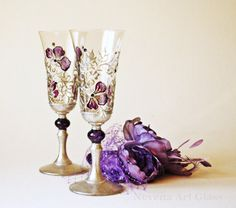 This lady's handpainted glass art is amazing! Wedding Glasses Hand Painted Purple and Silver by NevenaArtGlass, $60.00