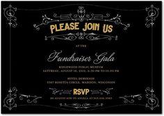 Gatsby's Gala - Corporate Event Invitations in Black   Wiley Valentine