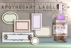Huge set of Printable Free replicated antique ornate blank Apothecary labels for artisans, crafters and designers are designed by Cathe Holden. Use them for gift tags, bottles, small contatiners, favors, address labels and lots lots more. Enjoy -:)