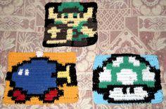 Figuras para el borde de la manta 8 bit:Link,Bob-Omp y Mashroom