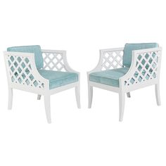 Pair of Grosfeld House White Lacquer Lattice Cube Chairs  USA  1950's  Pair of White Lacquer Lattice Cube Chairs, designed by Lorin Jackson for Grosfeld House, American, circa 1940's. These chairs look great from every angle. They have been completely restored in a white lacquer finish and newly upholstered in an aqua blue color velvet-style fabric.