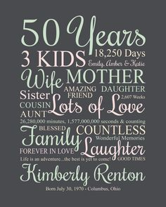 Moms 50th Birthday, Fifty Birthday, 80th Birthday Gifts, Personalized Birthday Gifts, Birthday Messages, Sister Birthday, 50th Birthday Ideas For Women, 50th Birthday Quotes Woman, Birthday Wishes