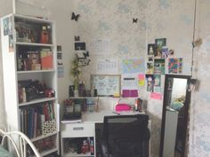 My study area I spend most of my time studying here so I thought I would share it with you guys. I have a desk and bookcase together they probably cost maybe £60ish My desk is infront of the fireplace in my room since I don't tend to use it. And...