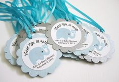 Personalized Elephant Favor Tags for Baby Boy Shower Party in Blue   adorebynat - Paper/Books on ArtFire