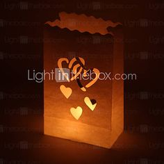 Heart Cut-out Paper Luminary (Set of 4)