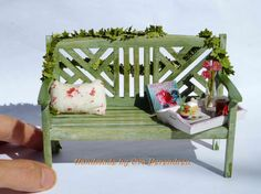 Dollouse garden bench  miniature bench by Evamini on Etsy, $32.00