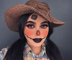 Are you looking for ideas for your Halloween make-up? Browse around this website for creepy Halloween makeup looks. Scarecrow Halloween Makeup, Halloween Costumes Scarecrow, Halloween Eyes, Halloween Makeup Looks, Halloween Outfits, Scarecrow Face Paint, Halloween Crafts, Halloween 2020, Halloween Makeuo