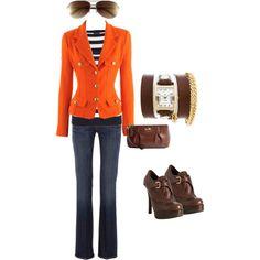 Versace Orange Blazer: Love how it accentuates the waist