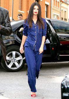 Selena Gomez continued her Revival publicity tour in Paris, where she rocked the chicest navy-blue PJ's with ruby heels; see the photos here!