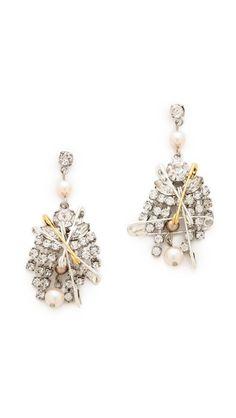 TOM BINNS Safety Pin & Crystal Earrings